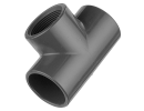 T-kus 90° - 1 x vývod závit vnútorný, 2 x vývod lepenie