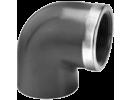 Koleno 90° 1 x vývod- závit vnútorný + kovový kruh, 1 x vývod - lepenie