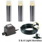 Oak, 3 svietidlá+kablový rozvod+transformátor, nerez LD