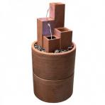 Square Corten s dvojitým podstavcom - Sklobetónová fontána exteriér/interiér
